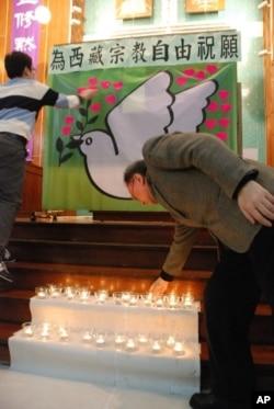 香港市民送上燭光為西藏宗教自由祝願