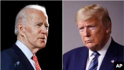 រូបផ្គុំចូលគ្នាបង្ហាញពីបេក្ខជនប្រធានាធិបតីគណបក្សប្រជាធិបតេយ្យលោក Joe Biden (ឆ្វេង) និងលោកប្រធានាធិបតី ដូណាល់ ត្រាំ។