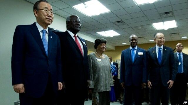 From left: Secretary-General United Nations Ban Ki-moon,  Sierra Leone President Ernest Bai Koroma,  Liberia's President Ellen Johnson Sirleaf, Guinea's President Alpha Condé and World Bank President Jim Yong Kim.