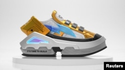 A virtual sneaker made by digital fashion company RTFKT in collaboration with the fund A16z is seen in this render obtained by Reuters on August 10, 2021. RTFKT INC/Handout via REUTERS