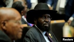 FILE - South Sudan's President Salva Kiir attends the 30th Ordinary Session of the Assembly of the Heads of State and the Government of the African Union in Addis Ababa, Ethiopia, Jan. 28, 2018.