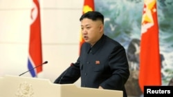 North Korean leader Kim Jong Un speaks during a banquet in Pyongyang in this image released by North Korea's KCNA news agency December 22, 2012.