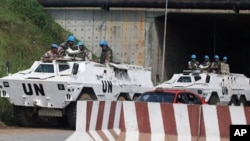 UN peacekeepers maintain a highly visible presence in Abidjan, Ivory coast, amid concerns of escalating post-election violence in the country, 29 Dec 2010