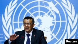 Newly elected director-general of the World Health Organization (WHO) Tedros Adhanom Ghebreyesus attends a news conference at the United Nations in Geneva, Switzerland, May 24, 2017.