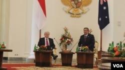 Presiden Susilo Bambang Yudhoyono dan Perdana Menteri Australia Kevin Rudd dalam pertemuan di Istana Bogor (5/7). (VOA Andylala Waluyo)