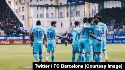Le FC Barcelone a difficilement battu Eibar (2-0) au championnat d'Espagne, samedi 17 février 2018. (Twitter/FC barcelone)