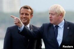 Macron İngiltere Başbakanı Boris Johnson'la