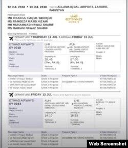 پاکستان واپسی کے لیے نواز شریف کا ہوائی سفر کا ٹکٹ