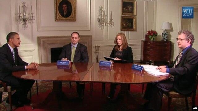 President Obama speaks during an online roundtable at the White House, September 28, 2011