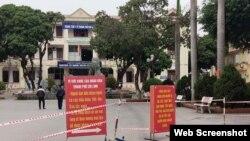 Bên ngoài bệnh viện dã chiến Covid-19 đặt tại Trung tâm Y tế TP Chí Linh ngày 29/1. Ảnh: Bộ Y tế.