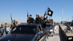 FILE - Members of the so-called Islamic State militant group in Syria.