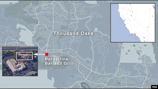 Map of Thousand Oaks, California, showing the Borderline Bar and Grill