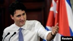 Thủ tướng Canada Justin Trudeau phát biểu tại một cuộc hội thảo ở Đại học Havana, Cuba, ngày 16 tháng 11 năm 2016.