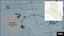 Mapa koja pokazuje lokaciju aerodroma u Bagdadu