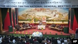The opening session of the Second Tibetan National General Meeting being held at the TCV School auditorium in Dharamsala, on 21 May 2011