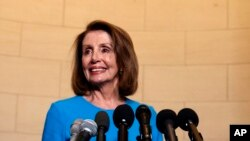 House Minority Leader Nancy Pelosi, D-Calif., arrives to speak to media at Longworth House Office Building on Capitol Hill in Washington, Wednesday, Nov. 28, 2018, to announce her nomination by House Democrats to lead them in the new Congress, Nov. 28, 2018.