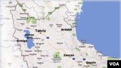 İran Azərbaycanı xəritəsi