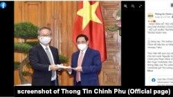 Thủ tướng Việt Nam Phạm Minh Chính tiếp Đại sứ Nhật Bản Yamada Takio, 15/6/2021.