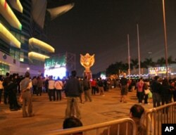 开幕式期间港岛金紫荆广场有很多空位
