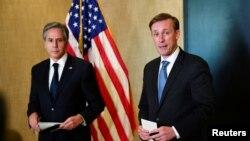 美國國務卿布林肯與國家安全顧問沙利文在阿拉斯加與中國最高外事官員進行了閉門會談後與媒體見面。 (2021年3月19日)