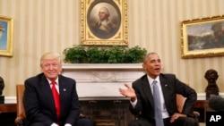 在撕裂式的选战之后,奥巴马总统与当选总统川普在白宫友好会面。两人对TPP的立场截然不同(2016年11月10日)