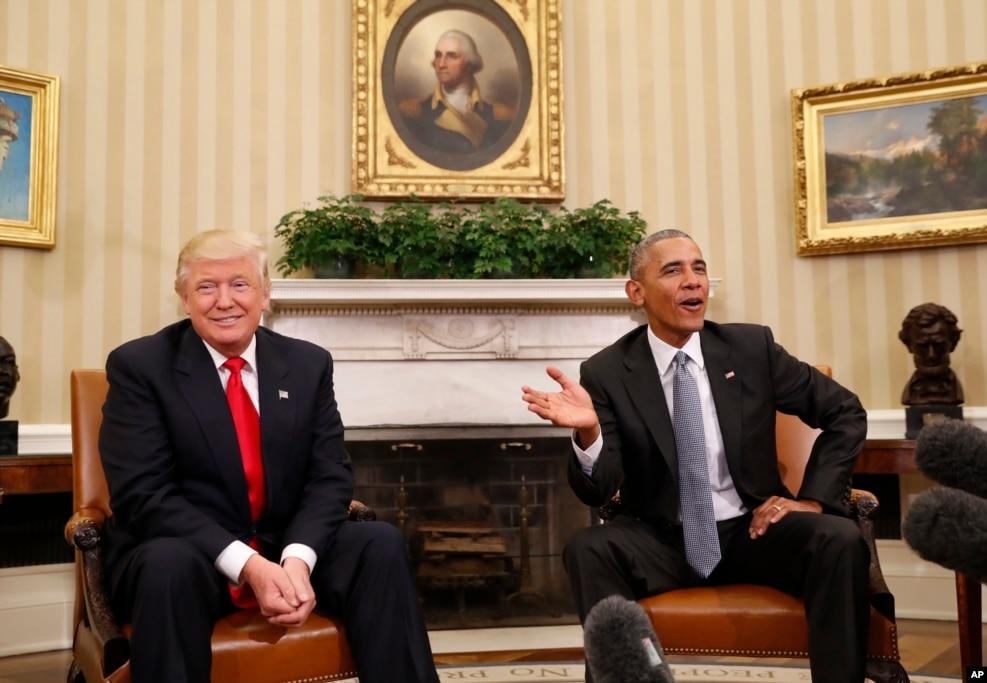 在撕裂式的選戰之後,奧巴馬總統與當選總統川普在白宮友好會面。 (2016年11月10日)