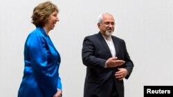Iranski ministar inostranih poslova Džavad Zarif sa šefom evropske diplomatije Ketrin Ešton u Ženevi, 15. oktobar 2013.