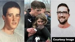 Austin Eubanks (from left) Before the shooting, after Columbine, and today in an image from his website.