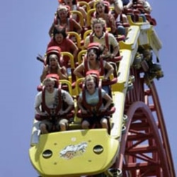 Roller coaster ride at Hersheypark.