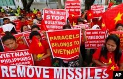 Biểu tình chống Trung Quốc tại Manila, Philippines.