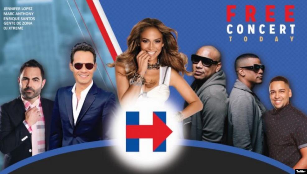 歌手詹妮弗·洛佩茲和马克·安东尼反对川普,支持美国民主党总统候选人希拉里·克林顿,举办免费音乐会,为她助选(2016年10月29日)
