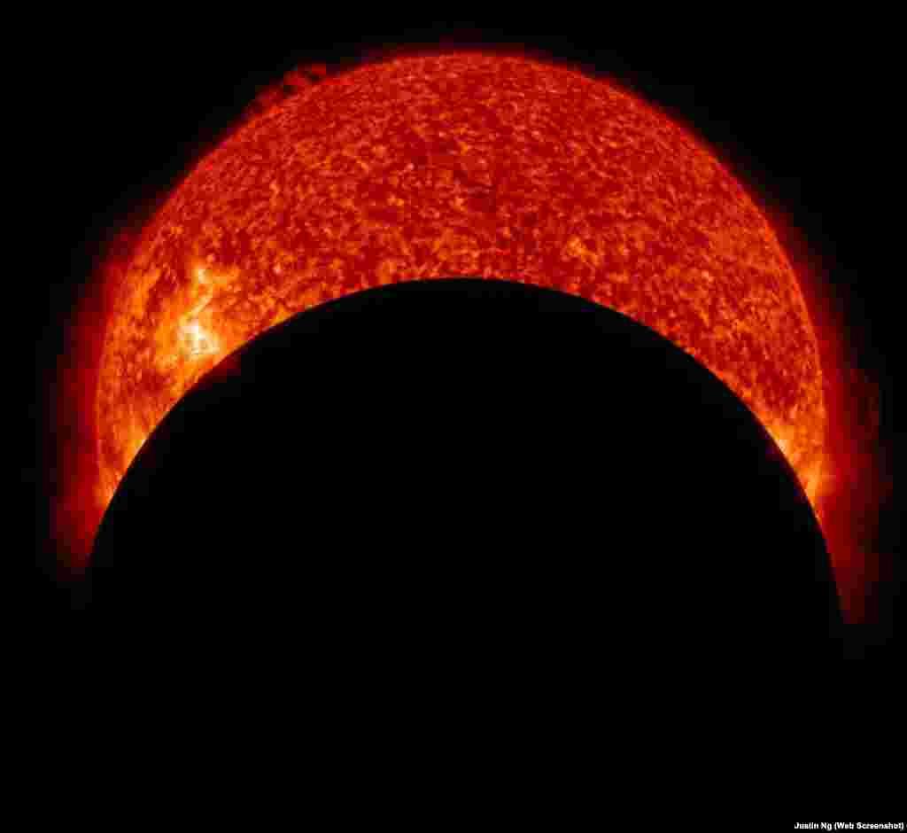 سورج گرہن اور ایم -کلاس شمسی شعلے