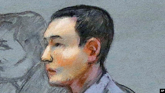 FILE - Azamat Tazhayakov, a college friend of Boston Marathon bombing suspect Dzhokhar Tsarnaev, sits during a hearing in federal court in Boston.