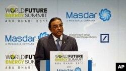 Pakistan's President Asif Ali Zardari speaks during the World Future Energy Summit at the Abu Dhabi National Exhibition Centre Jan 17, 2011
