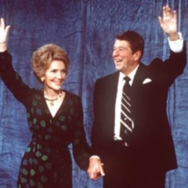Ronald Reagan and wife, Nancy, at the Century Plaza Hotel in Los Angeles after his election victory on November 4, 1980