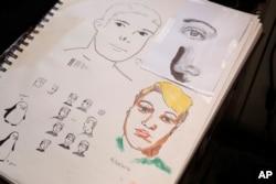 Hasil coretan gambar potret diri Mateo, yang dibuatnya sambil mendengarkan pelajaran sekolah virtual di kamarnya di Roma, Kamis, 18 Maret 2021.
