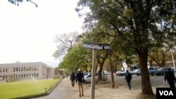 Defaced Robert Mugabe Way sign post in Bulawayo.