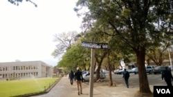 Defaced Robert Mugabe Way sign post in Bulawayo.