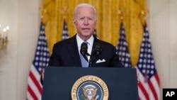 Prezidan Joe Biden pwononse yon diskou sou Afghanistan depi Sal Es Mezon Blanch la, 16 Out, 2021.