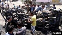 بم دھماکے میں تباہ ہونے والی گاڑی