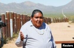 Verlon Jose, vice-chairman of the Tohono O'odham Nation, talks with reporters on the U.S.-Mexico border on the Tohono O'odham reservation in Chukut Kuk, Arizona, April 6, 2017.
