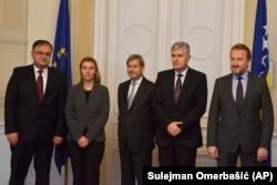 Mladen Ivanić, Federika Mogerini, Johanes Han, Dragan Čović i Bakir Izetbegović (s leva)