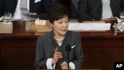 Presiden Korsel, Park Geun-hye berpidato di hadapan Kongres AS dalam lanjutan lawatannya di Washington, Rabu (8/5).