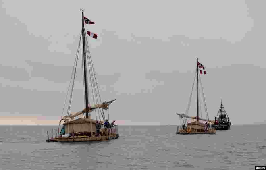 Dua rakit kayu tim ekspedisi Kon-Tiki2 berangkat dari galangan kapal Callao Naval Shipyard di Peru tanggal 7 November 2015. Tim penjelajah itu akan melakukan perjalanan sejauh 8.000 kilometer menuju Easter Island dan lalu Valparaiso di Chile, dan diperkirakan memakan waktu empat bulan.