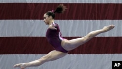 Jordyn Wieber competes in balance beam during the women's senior division at the US gymnastics championships on June 10, 2012 in St. Louis. Wieber took first place overall in the competition.