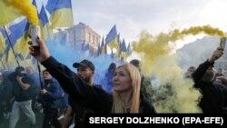 Акция протеста в Киеве. 14 октября 2019 г.