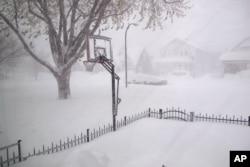 Heavy snow covers the street in Buffalo, New York, Nov. 18, 2014.