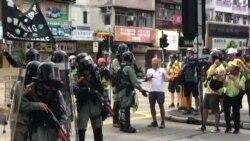 深水埗街坊不滿警方向示威者發射催淚彈