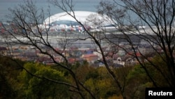 A view of the Bolshoi Olympic stadium and accommodation complex in the Adler district of Sochi, Russia, Sep. 29, 2013.