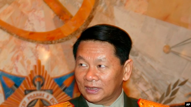 FILE - Laotian Defense Minister, Douangchay Phichit, is seen during a visit to Moscow.